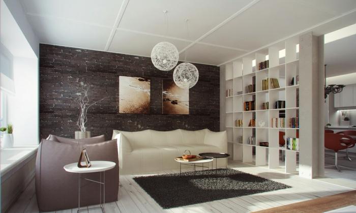 Wohnzimmer Regal Ideen ~ Moderne ideen zur optischen trennung durch regal raumteiler