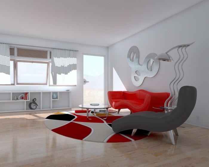 relax-stuhl-polsterstuhl-grau-runder-plueschteppich-rot-schwarz-grau-holzboden-rote-ledercouch-stehlampe-runder-glastisch