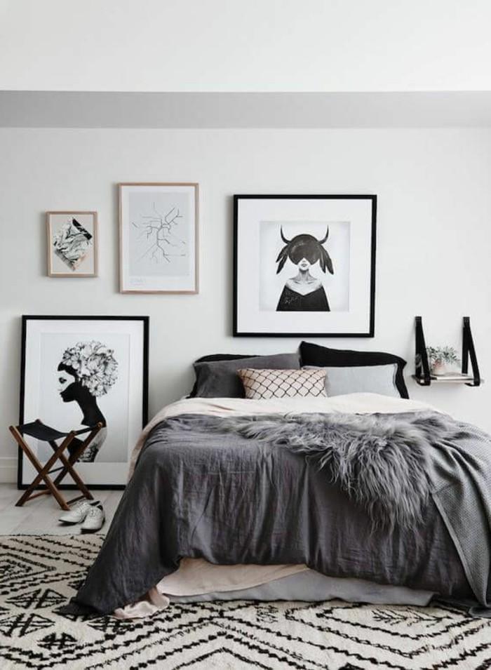 schlafzimmer-dekorieren-in-schwarz-und-weiss-bilder-bett