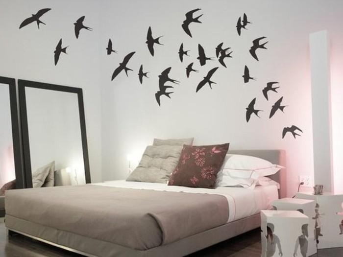 schlafzimmer-dekorieren-mit-wandstickern-voegel