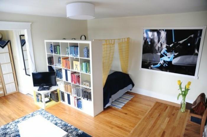 schlafzimmer-wohnzimmer-raumteiler-regale-regal-raumtrenner-bucherregal-raumteiler-holzboden-musterteppich-schlafzimmer-doppelbett-fernseher
