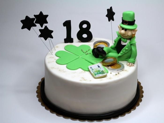 torte-zum-18-geburtstag-geburtstagstorten-torte-gluecksbringer-geld-gruen-klee-deko
