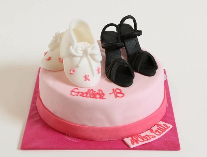 torte-zum-18-geburtstag-rosa-torte-schuhe-fondant-figuren