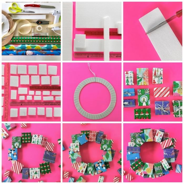 verblüffenden weihnachtskranz selber machen diy schritt für schritt anleitung kranz dekoriert mit kleinen geschenken