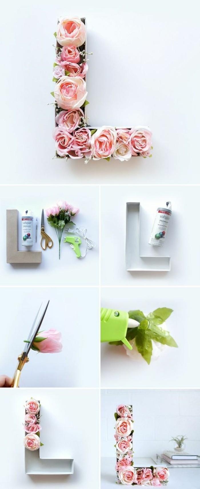 wanddeko-selber-machen-fruhlingsdeko-basteln-buchstabe-mit-rosen-dekorieren