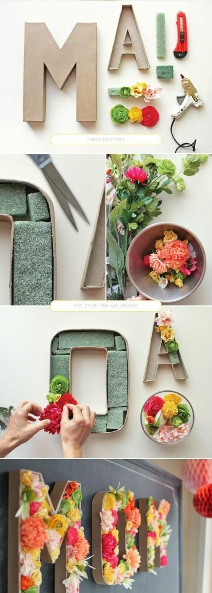 wanddeko-selber-machen-fruhlingsdeko-basteln-buchtaben-mit-blumen-dekorieren