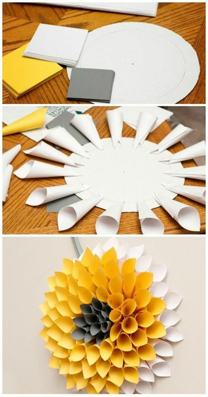 wanddeko-selber-machen-fruhlingsdeko-basteln-gelbe-blume-aus-papier