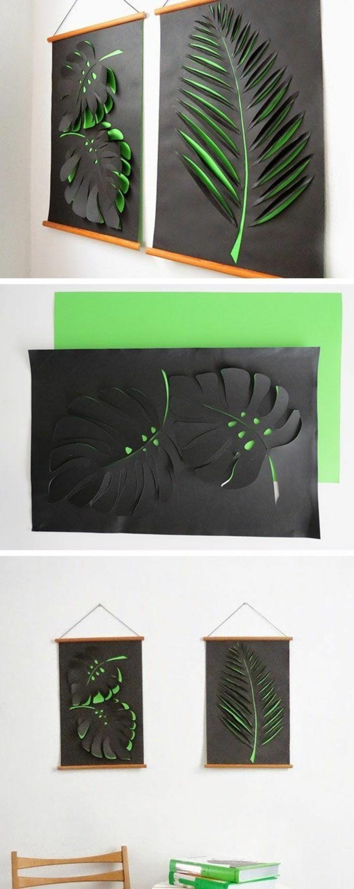wanddeko-selber-machen-wanddekoration-ideen-3d-blatter-aus-grunem-und-schwarzem-papier