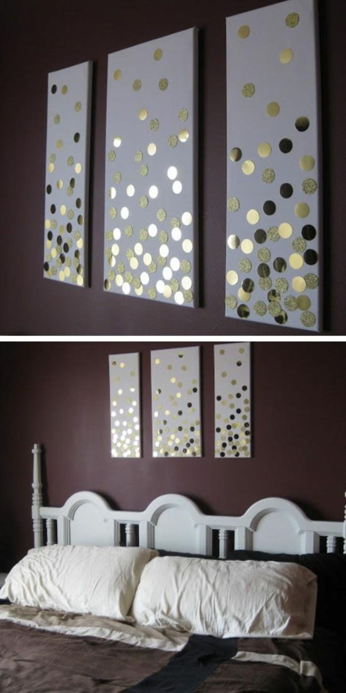 wanddeko-selber-machen-wanddekoration-ideen-bilder-mit-goldenen-stickern-dekorieren