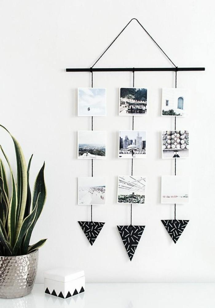 wanddeko-selber-machen-wandekoration-ideen-schwarz-weise-fotos-pflanze