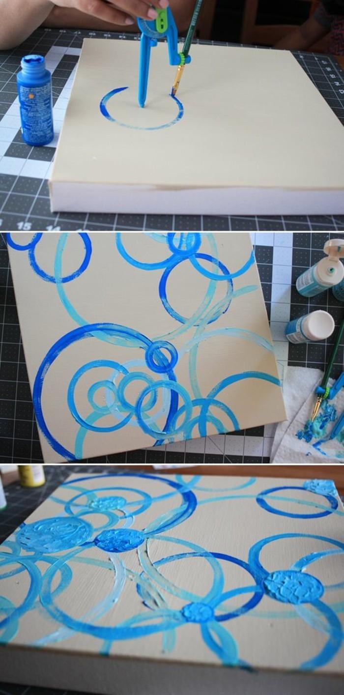 wanddeko-selber-machen-wohnideen-selber-machen-bild-mit-blauen-kreisen