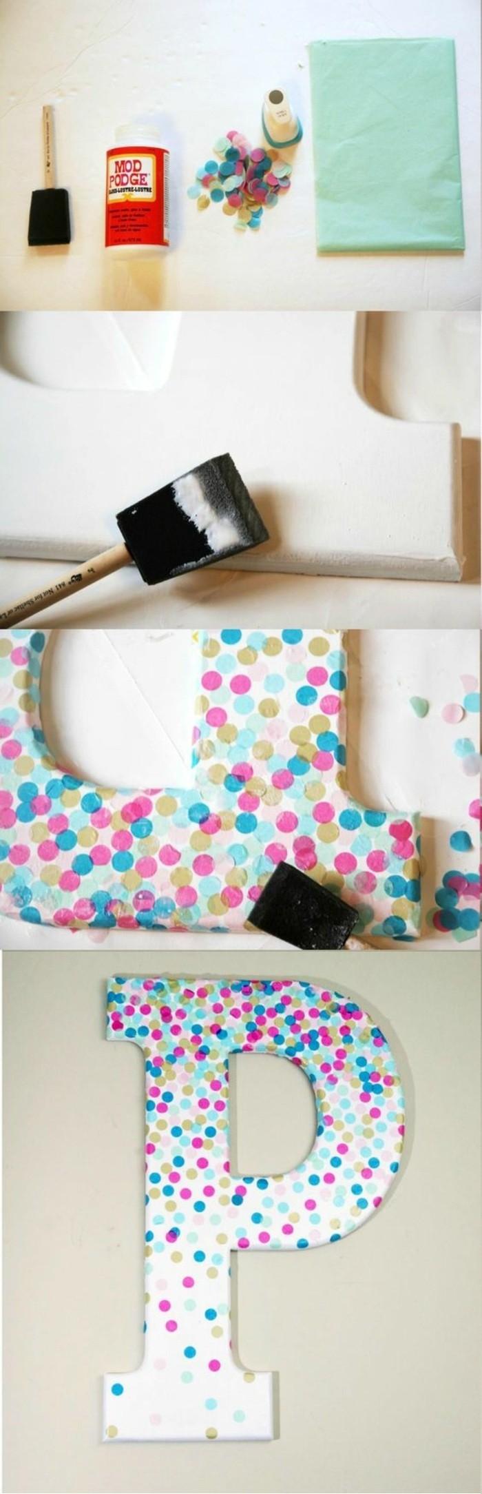 wanddeko-selber-machen-wohnideen-selber-machen-buchstabe-mit-buntem-papier-dekorieren
