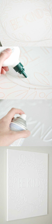 wanddeko-selber-machen-wohnideen-selber-machen-weise-leinwand-mit-kleber-dekorieren