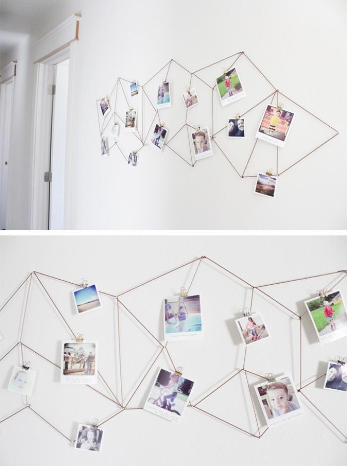 wandgestaltung wohngimmer, fotowand selber machen, kreative deko, familienfotos