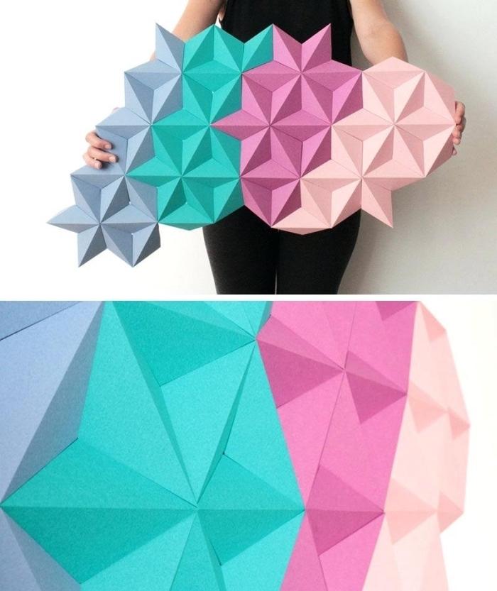 wandgestaltung wohnzimmer, geometrische deko in rosa, blau und grau, wanddekoration
