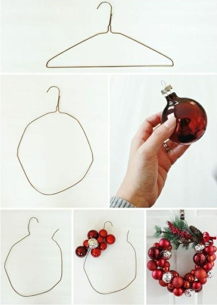 weihnachtskranz-basteln-aus-kleiderhaken-roten-weihnachtskugeln-gruenen-zweigen