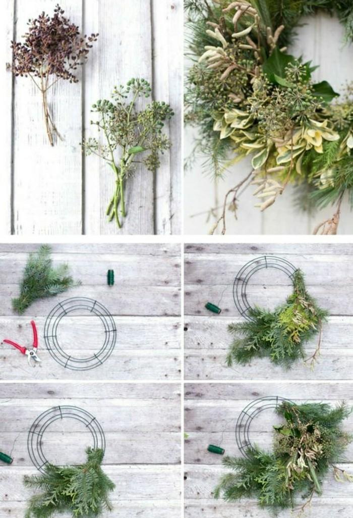 weihnachtskranz-basteln-gruene-zweige-zange-gruener-faden