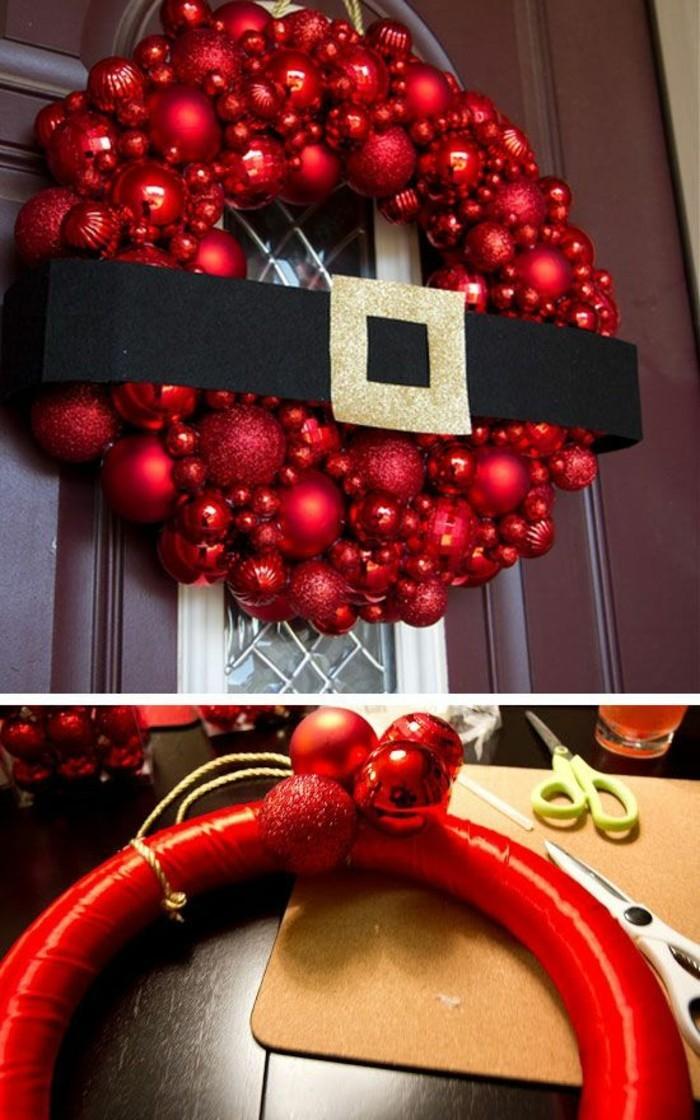 weihnachtskranz-selber-basteln-rote-wihnachtskugeln-schere-schwarzer-guertel-tuer