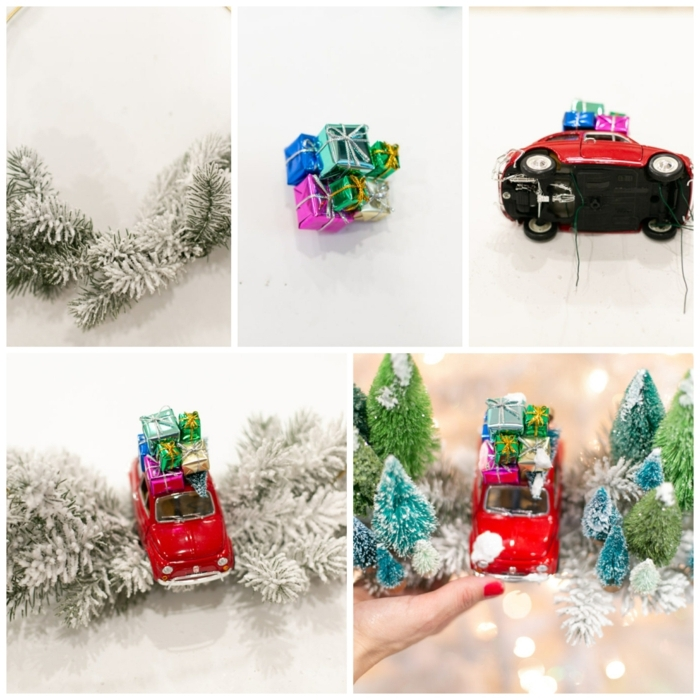 wie mache ich einen weihnachtskranz selbst diy anleitung schritt für schritt kleines rotes auto spielzeug kranz weihnachten inspiratio
