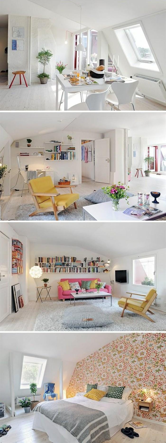 wohnung-einrichten-ideen-bett-tapeten-tisch-stuhle-regale-roter-sofa