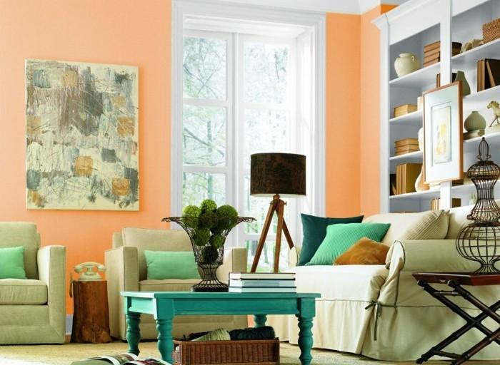 Farbgestaltung wohnzimmer interieurgestaltung - Colores suaves para pintar paredes ...