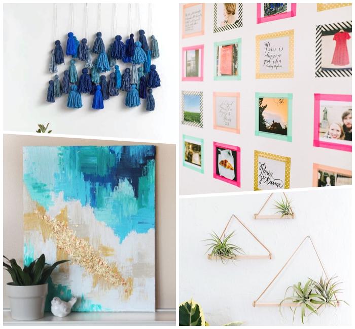 wohnzimemr ideen wandgestaltung, abstraktes bild, troddel aus blauem garn, kleien biler, hängende deko