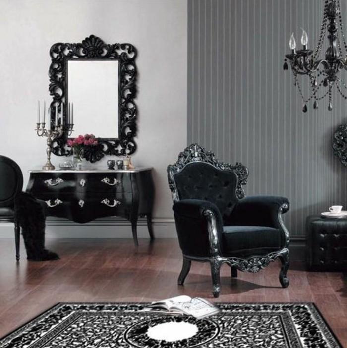 11-raumgestaltung-ideen-schwarzer-sessel-vintage-spiegel-schrank-kerzen-teppich-stuhl