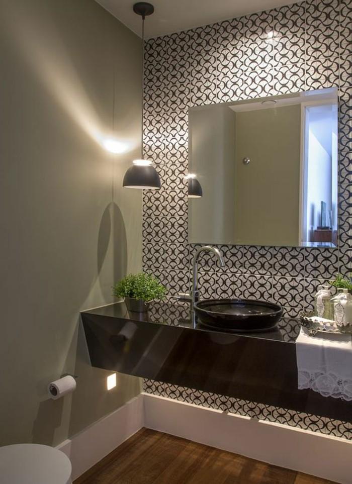 11 Schone Tapeten Badezimmer Schwarzer Waschbecken Lampe Grune