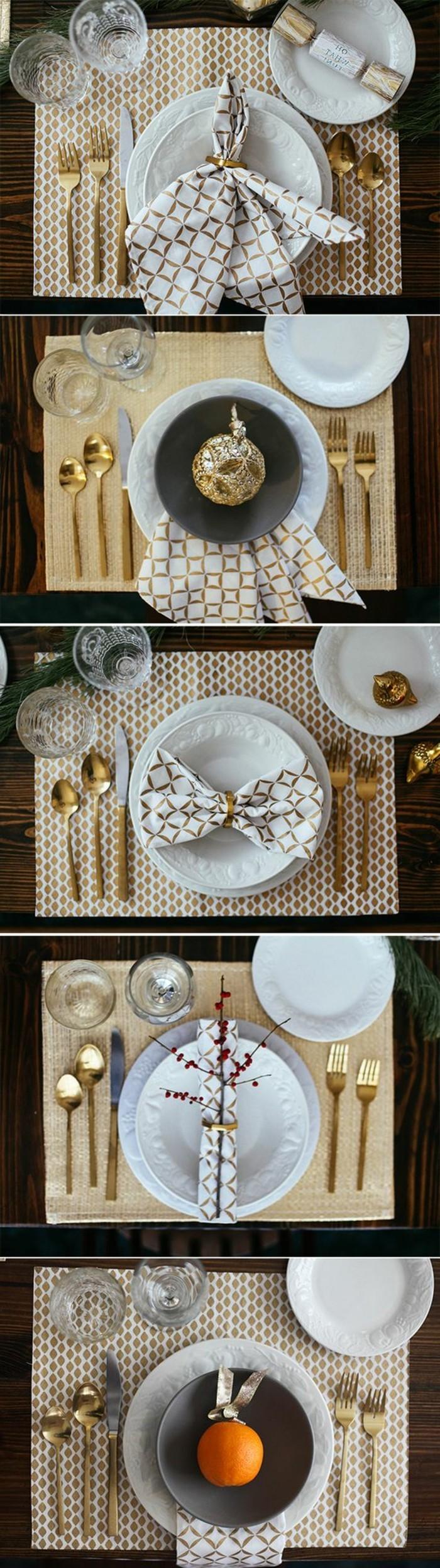 11-weihnachtsdeko-selber-machen-weise-goldgemusterte-servietten-goldener-kugel-goldene-loffeln-und-gabeln