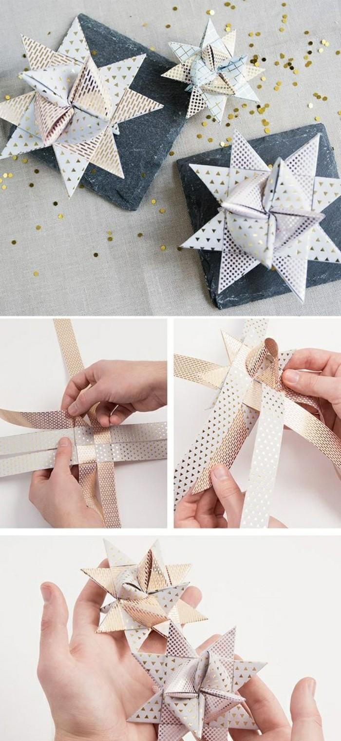 11-weihnahtsschmuck-basteln-sterne-aus-goldenen-schleifen-selber-machen