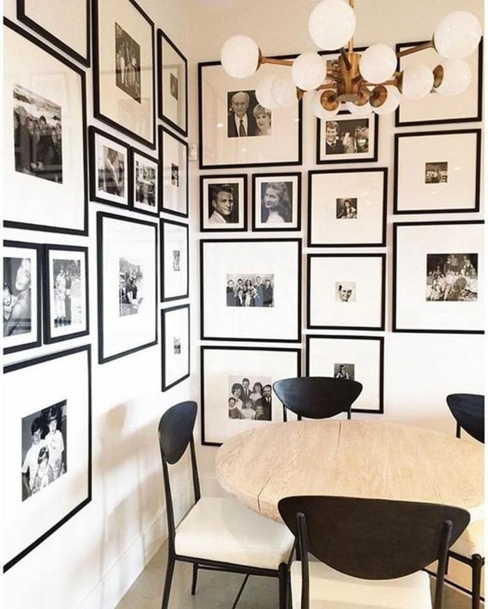 16-fotocollage-selber-machen-viele-retro-fotos-holzerner-tisch-schwarze-stuhle-kronleuchter