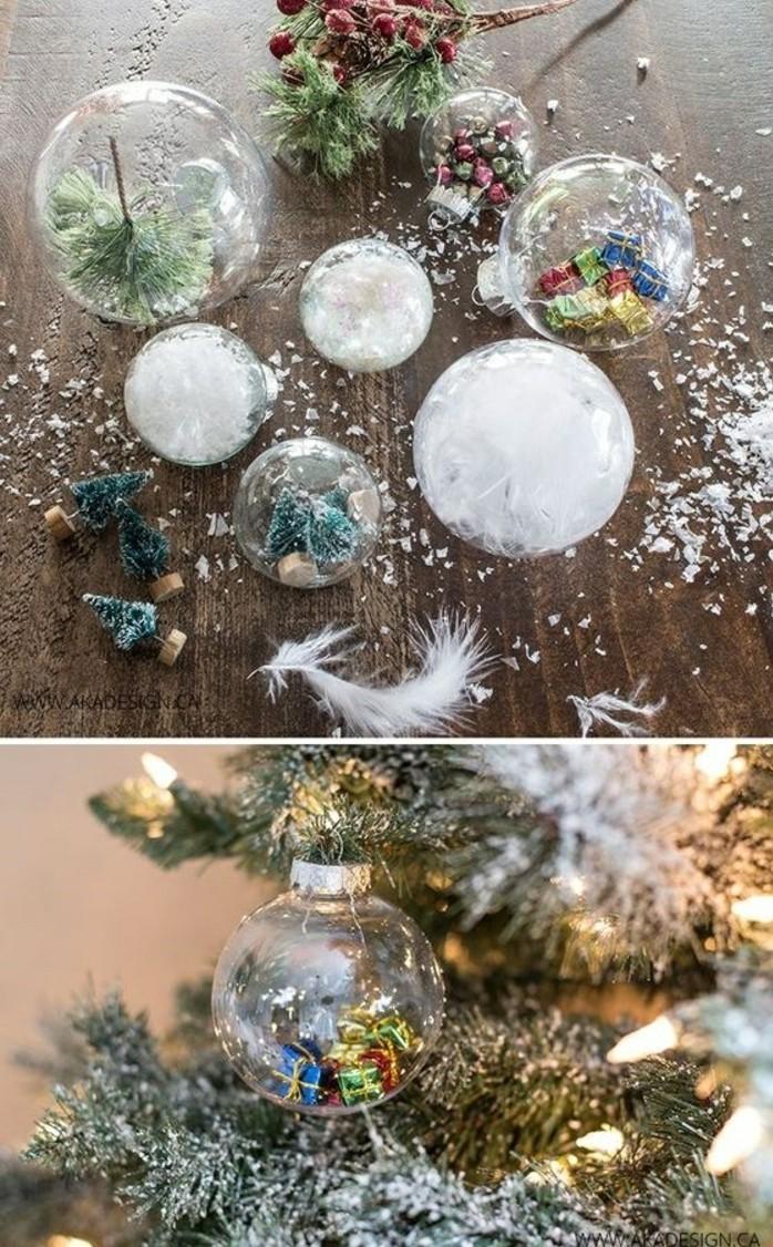 19-eihnachtsbasteleien-weihanchtskugeln-dekorieren-kleine-tannenbaume-feder-immergrune-zweige