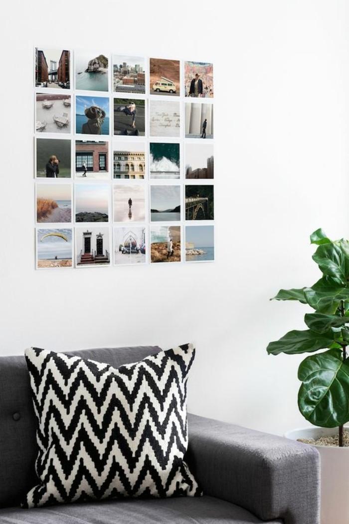 19-fotowand-ideen-fotos-grauer-sofa-kisse-grune-pflanze
