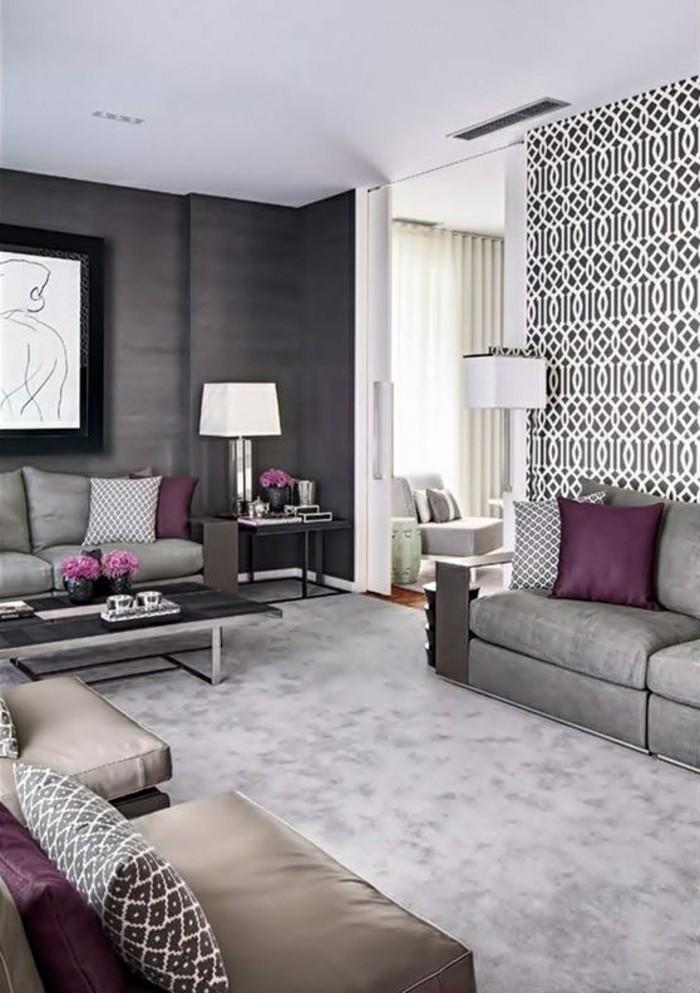 Wunderbar 5 Tapeten Ideen Wohnzimmer Graue Sofas Dekokissen Lampen