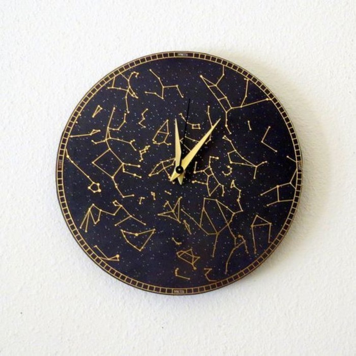 6wanduhr-design-schwarzes-zifferblatt-goldene-zeiger-astrologie-sternbild
