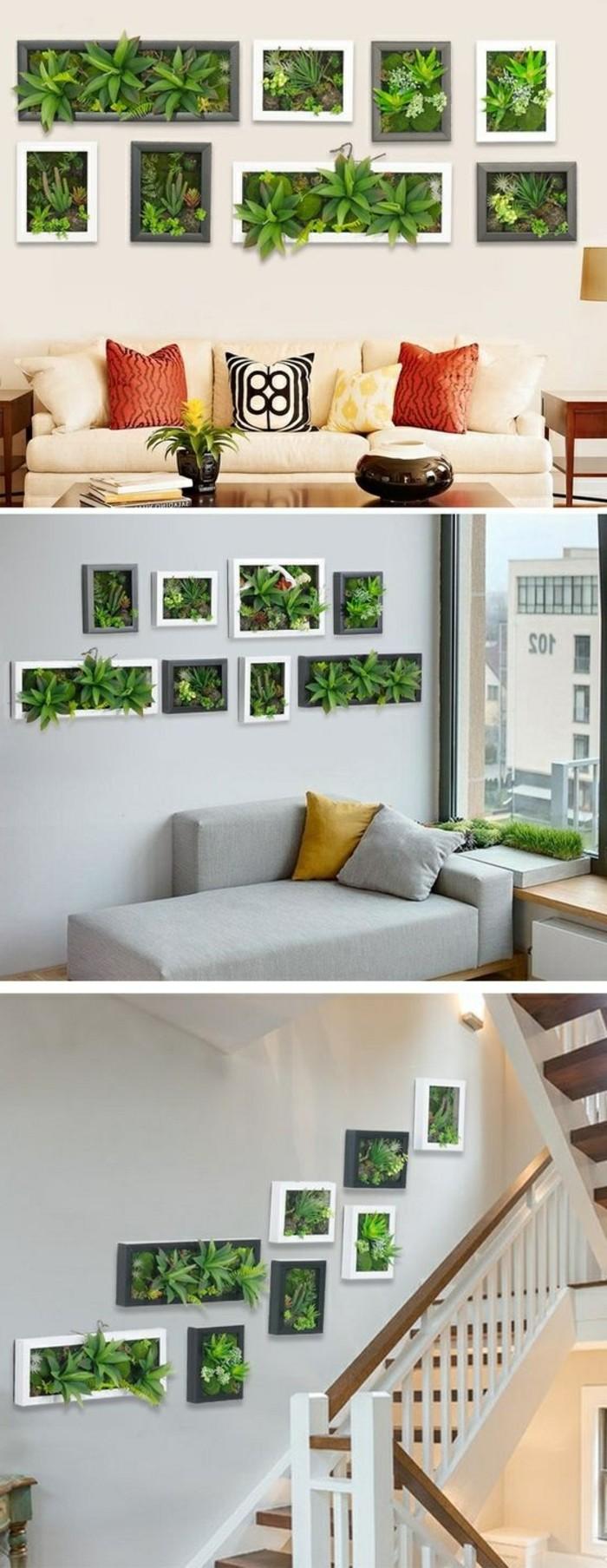 9-diy-deko-regale-mit-grunen-pflanzen-sofa-treppenhauswohnzimmer