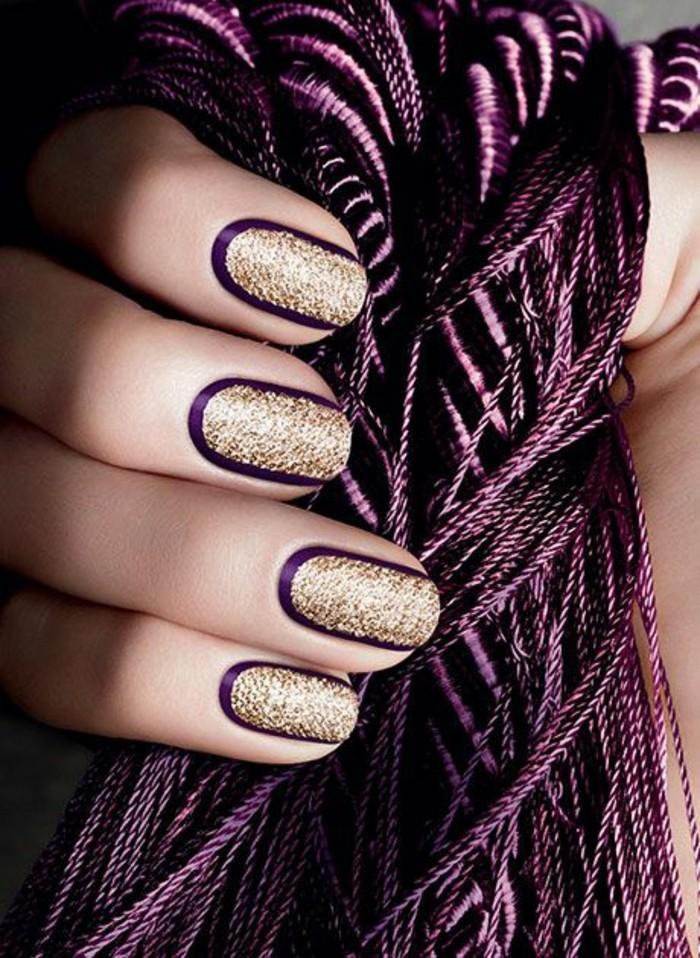 9-fingernageldesign-silvester-glitzer-gold-und-lila-nagel-manikure