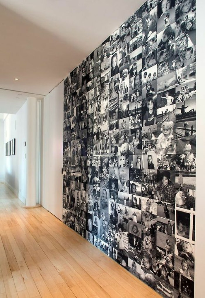 9-fotowand-ideen-viele-schwarz-weise-familienfotos-boden-aus-holz