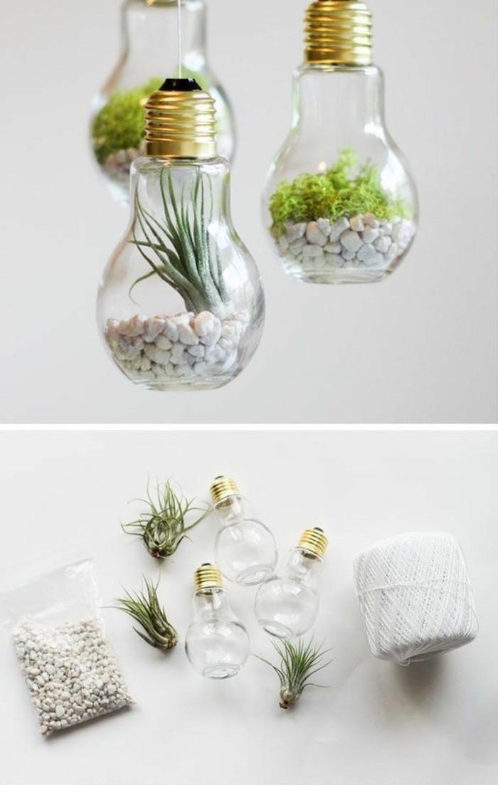 diy-ideen-pflanzen-weisse-steine-gluehlampen-dekorieren