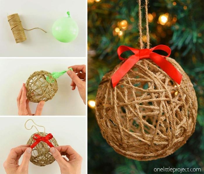 anleitung diy schritt für schritt basteln winter weihnachtsschmuck basteln kreative ideen mit luftballons und seil