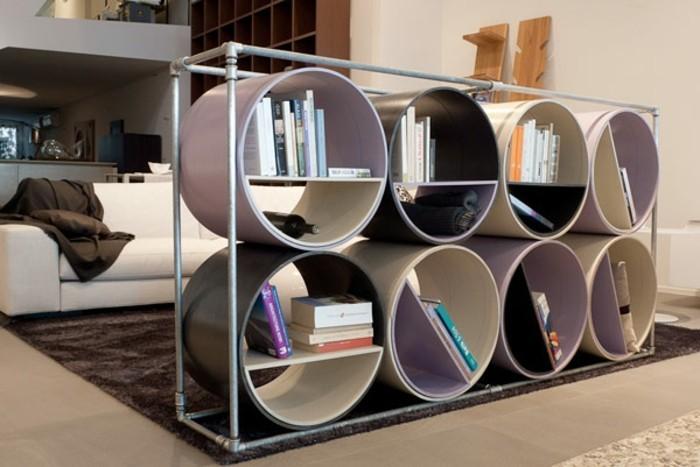 ausgefallene-buecherregale-gerundete-form-in-modernes-wohnzimmer