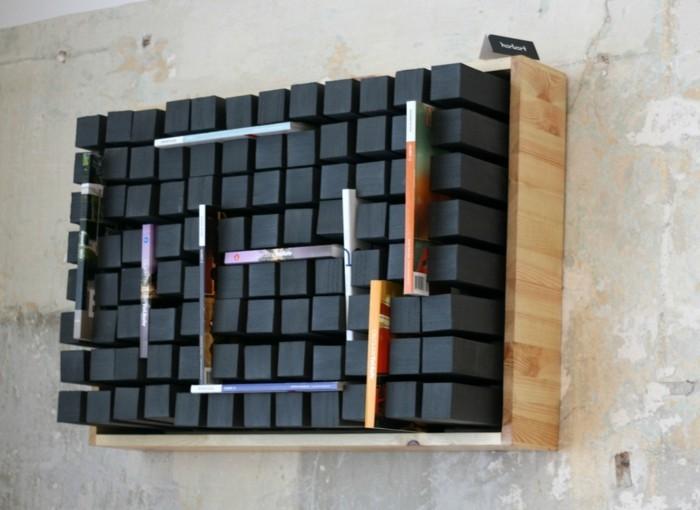 ausgefallene-buecherregale-in-schwarzer-farbe-fuer-die-zeitschriften