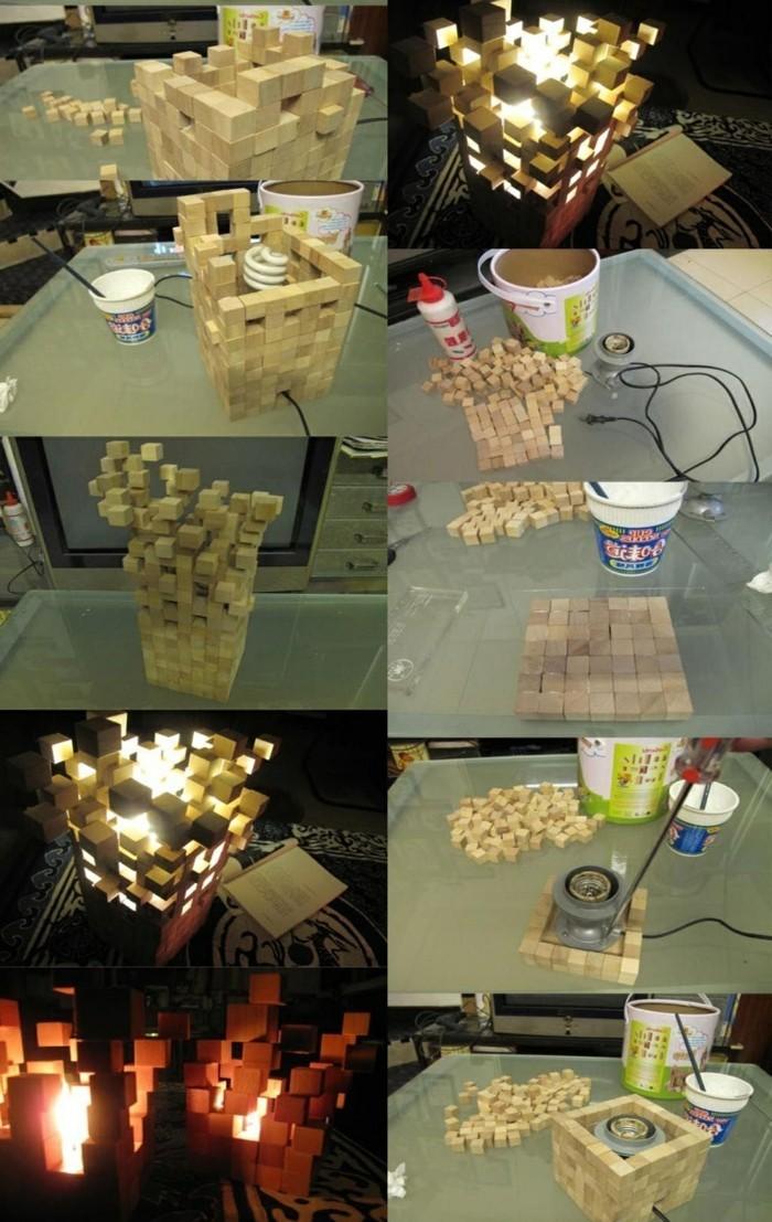 ausgefallene-lampen-holzernen-quadrate-kleber-mosaik