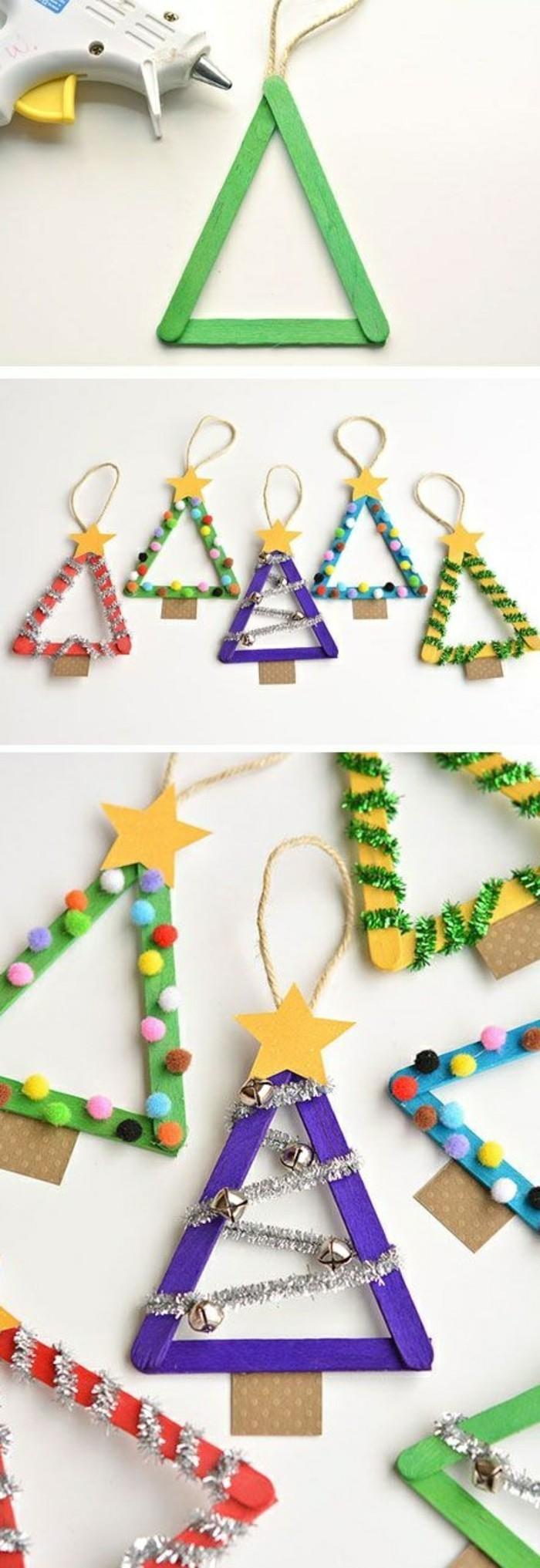 bastelideen-weihnachten-weihnachtsbaume-aus-holz-papiersterne-weihnachtdekoration