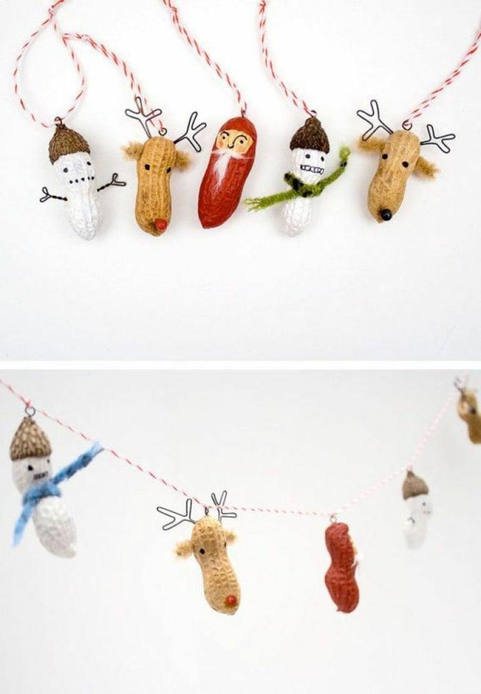 basteln mit erdnüssen weihnachtsbaumschmuck basteln kreative bastelideen für kinder aufgehängte dekoration weihnachten