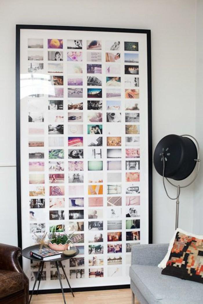 bilderrahmen-selber-machen-viele-bunte-fotos-grauer-sofa-kissen-tisch