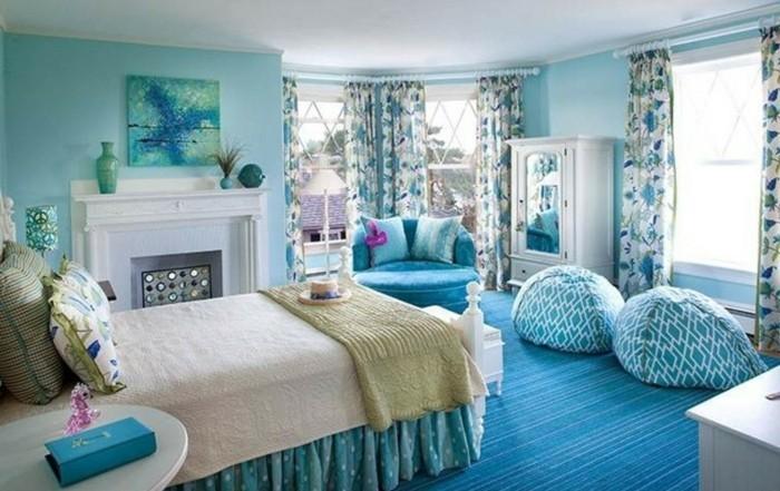 Schlafzimmer Pflanzen Feng Shui #24: Farbgestaltung-schlafzimmer-blau-feng-shui-schlafzimmer-blauer-teppich-