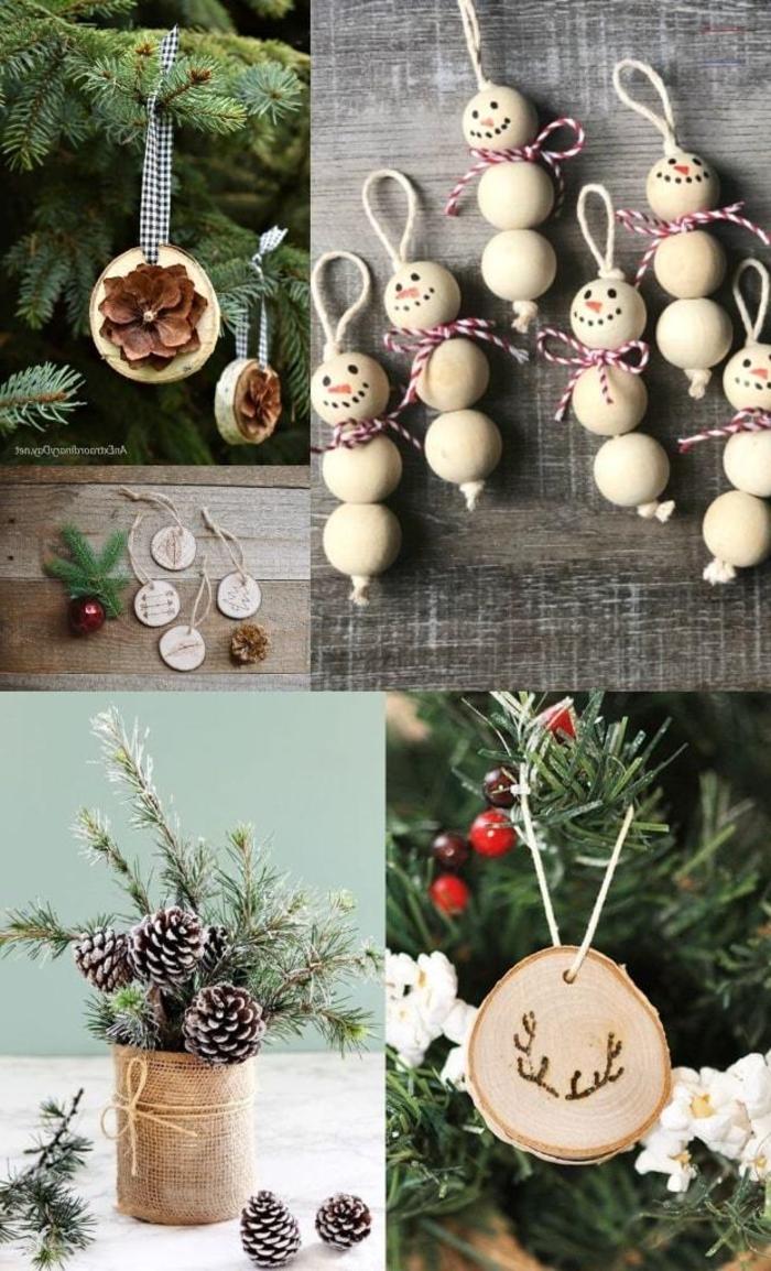 collage ideen und inspiration weihnachtsbaumschmuck basteln aus holz festlichen bastelideen