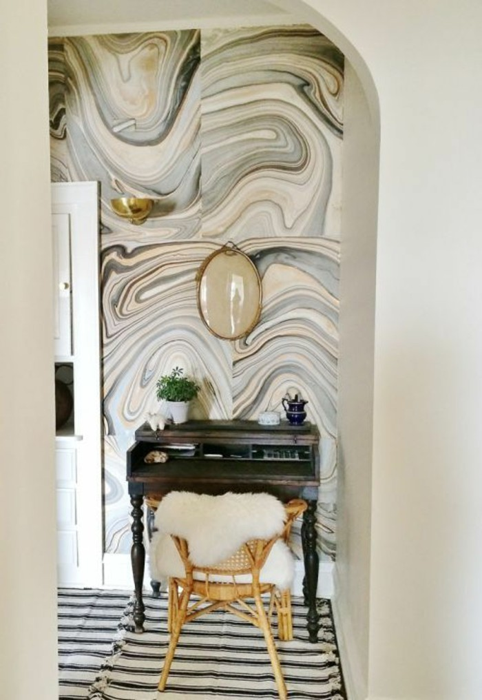 coole-muster-flur-stuhl-pflanze-tur-teppich-tappete-in-grau-und-beige