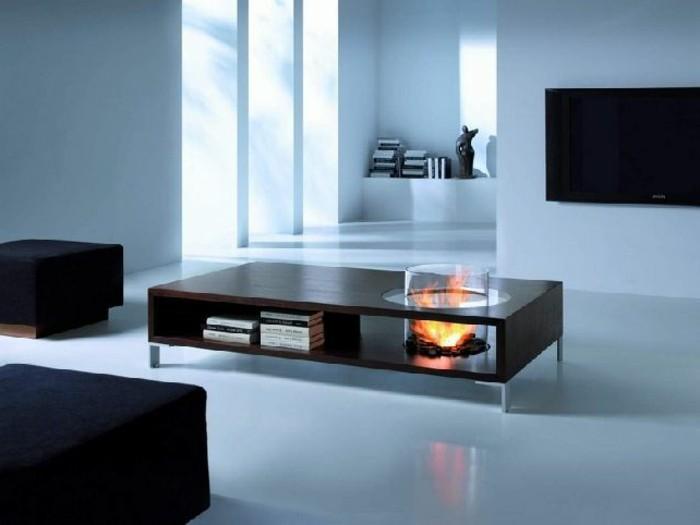 couchtisch-nussbaum-mit-feuerstelle-wohnzimmer-schwarze-couch-weisser-boden